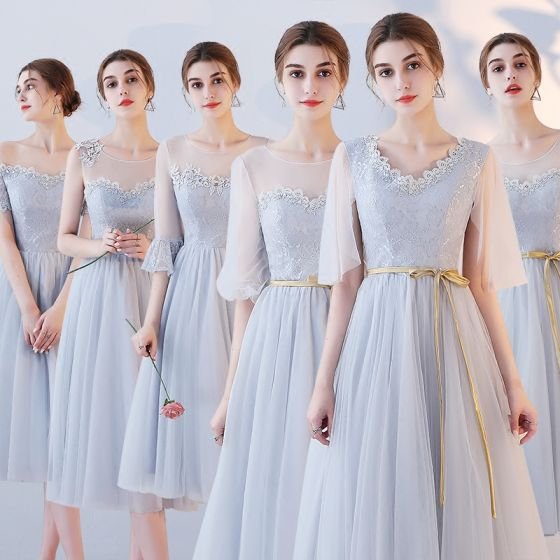Affordable Grey See-through Bridesmaid Dresses 2018 A-Line / Princess Appliques Lace Sash Tea-length Ruffle Backless Wedding Party Dresses