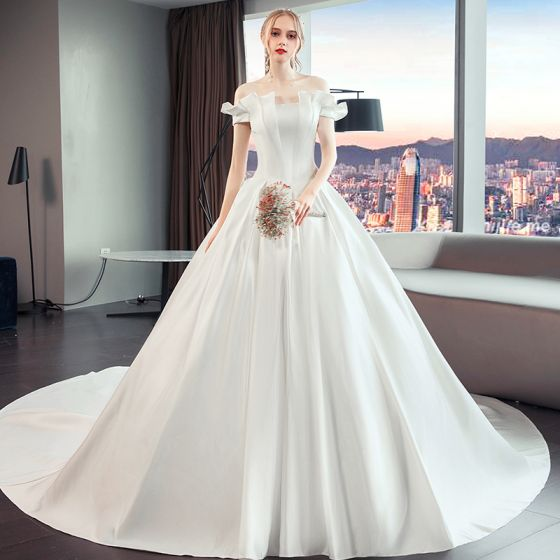 Jieruize White Simple Backless Wedding Dresses 2019 Ball: Short Sleeve Simple Wedding Dress