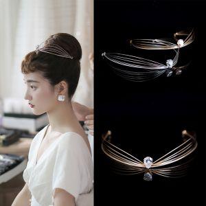 Audrey Hepburn-stijl Vintage Bruids Haaraccessoires 2020 Legering Rhinestone Tiara Bruids Accessoires