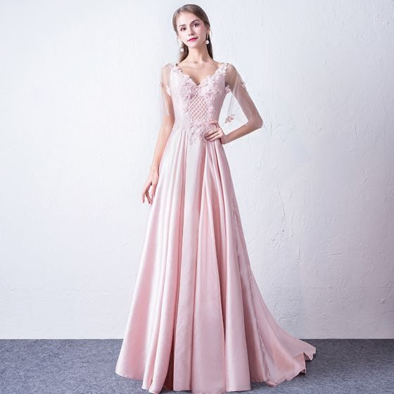 Modern / Fashion Candy Pink Evening Dresses  2018 A-Line / Princess V-Neck 1/2 Sleeves Appliques Flower Beading Court Train Ruffle Backless Formal Dresses