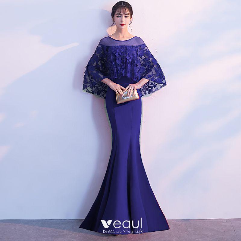 Elegantes Vestidos De Noche 2018 Trumpet Mermaid Con Encaje Flor Con Chal Scoop Escote Largos Vestidos Formales