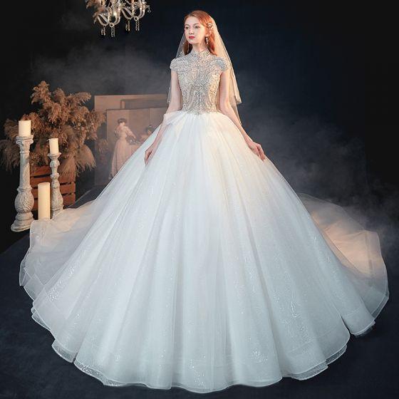 Vintage Blanco Transparentes Boda Vestidos De Novia 2020 Ball Gown Cuello Alto Manga Corta Sin Espalda Rebordear Glitter Tul Cathedral Train Ruffle