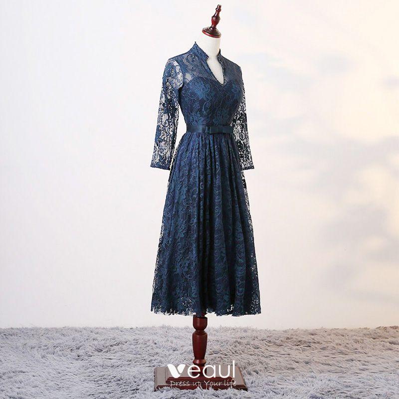 Chic / Belle Bleu D'encre Robe De Mère De