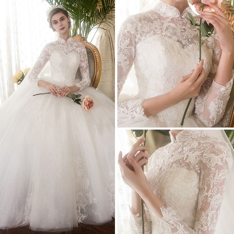 Chinese style Ivory Pierced Wedding Dresses 2019 Ball Gown High Neck Long Sleeve Appliques Lace Glitter Tulle Cathedral Train Ruffle