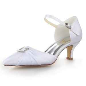 Elegant Pointed Toe Rhinestone White Ruffle Satin Low Heels Wedding Shoes
