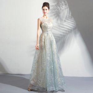 Sparkly Grey Floor-Length / Long Evening Dresses  2018 A-Line / Princess U-Neck Tulle Backless Beading Sequins Evening Party Formal Dresses