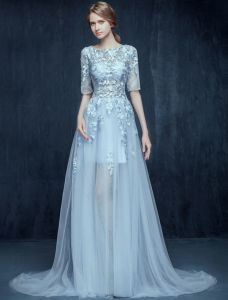 Glamorous Sky Blue Prom Dresses 2016 A-line Scoop Neck Applique Lace Pierced Design Dress