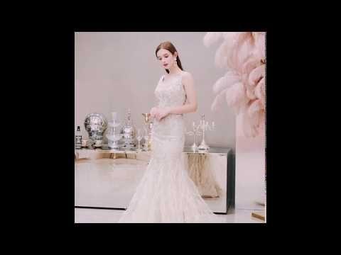 High-end Gold Evening Dresses  2019 Trumpet / Mermaid Deep V-Neck Sleeveless Beading Pearl Rhinestone Feather Floor-Length / Long Ruffle Backless Formal Dresses
