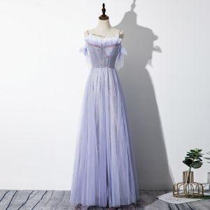 Elegant Lavendel Selskapskjoler 2020 Prinsesse Spaghettistropper Beading Stjerne Ryggløse Uten Ermer Sløyfe Lange Formelle Kjoler