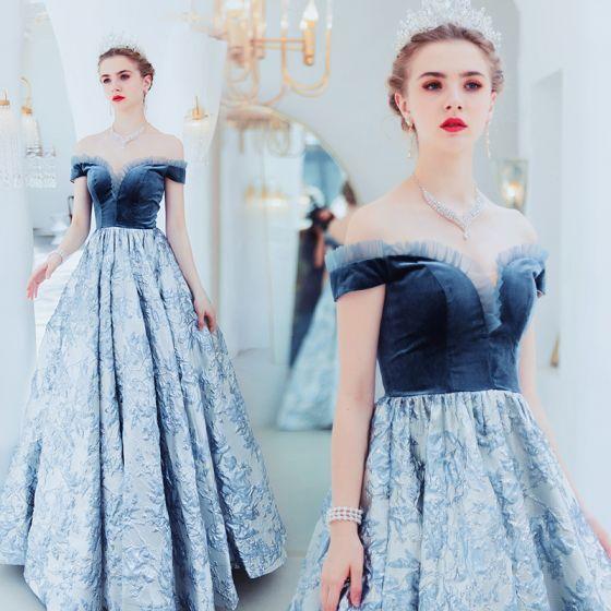 Elegant Ocean Blue Evening Dresses  2019 A-Line / Princess Suede Off-The-Shoulder Lace Flower Sleeveless Backless Floor-Length / Long Formal Dresses