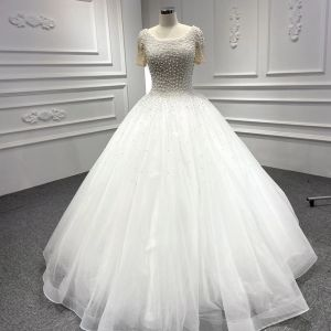 Luxury / Gorgeous White Bridal Wedding Dresses 2020 Ball Gown Scoop Neck Short Sleeve Backless Handmade  Beading Pearl Floor-Length / Long Ruffle
