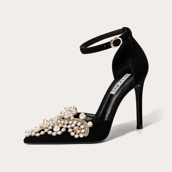 Charmant Schwarz Abend Leder Perle Strass Damenschuhe 2021 Knöchelriemen 10 cm Stilettos Spitzschuh Hochhackige