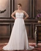 Elegant A-Line Sweetheart Sleeveless Floor-Length Chiffon Plus Size Wedding Dresses