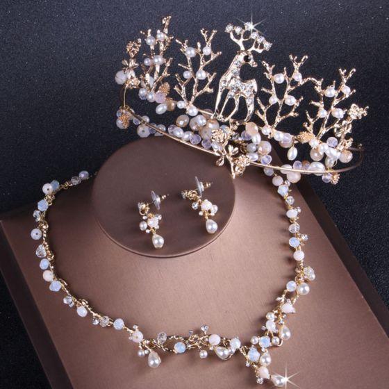 Unika Guld Bröllop Tillbehör 2019 Metall Kristall Pärla Rhinestone Tiara Örhängen Halsband Brudsmycken