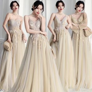 Elegant Sage Green Bridesmaid Dresses 2020 A-Line / Princess Backless Appliques Lace Floor-Length / Long