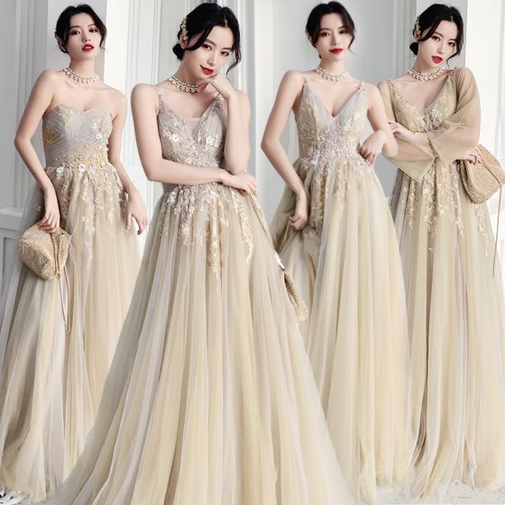Elegant Sage Green Bridesmaid Dresses 2020 A-Line / Princess Backless Appliques Lace Floor-Length / Long