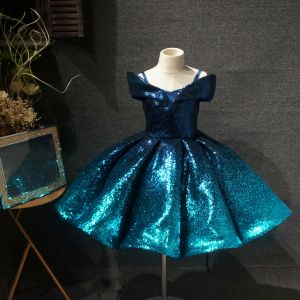 Fairytale Ink Blue Birthday Flower Girl Dresses 2020 Ball Gown Off-The-Shoulder Short Sleeve Sequins Short Ruffle Backless Wedding Party Dresses