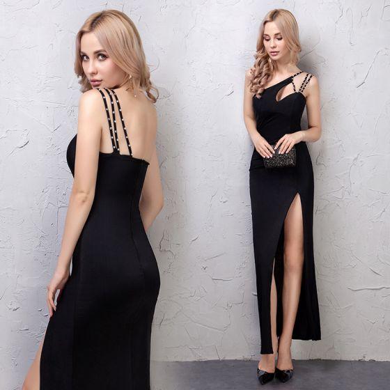 Schlicht Schwarz Abendkleider 2019 Gespaltete Front One-Shoulder Rückenfreies Ärmellos Knöchellänge Festliche Kleider