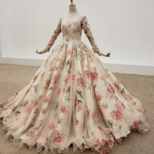 Eye-catching Flower Fairy Multi-Colors Ball Gown Wedding Dresses 2020 U-Neck Floor-Length / Long Long Sleeve Handmade  3D Lace Ankle Strap Appliques Backless Crystal Sequins Wedding