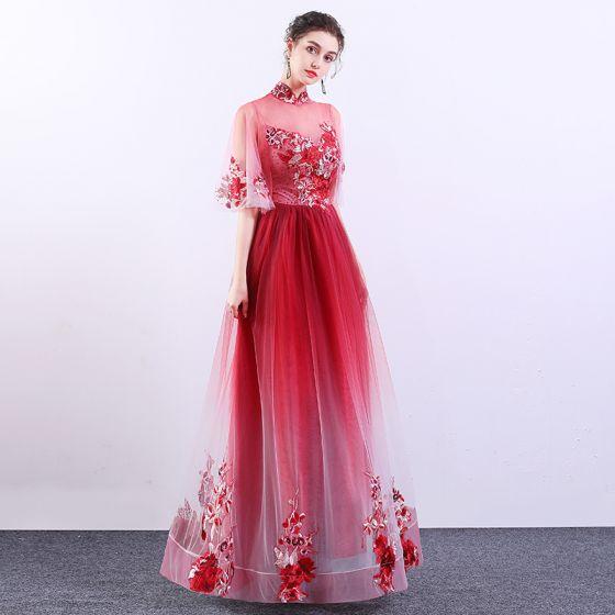 Kinesisk Stil Röd Gradient-Färg Genomskinliga Aftonklänningar 2019 Prinsessa Hög Hals Bell ärmar Appliqués Spets Rhinestone Långa Ruffle Formella Klänningar