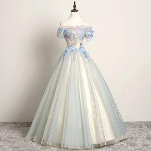 Mode Himmelblau Ballkleider 2019 A Linie Off Shoulder Spitze Blumen Perle Applikationen Kurze Ärmel Rückenfreies Lange Festliche Kleider