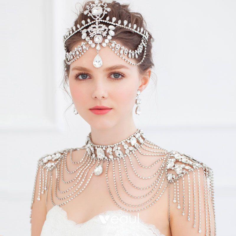 Tassel Diamond Shoulder Chain Jewelry Wedding Necklace Bridal Earrings Three Piece