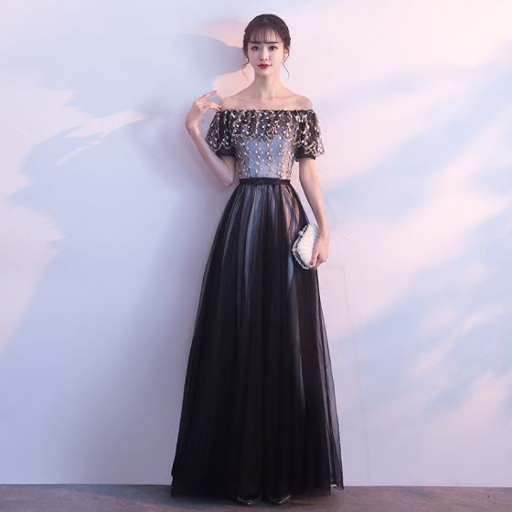 Chic / Beautiful Black Prom Dresses 2017 A-Line / Princess Strapless Tulle Appliques Backless Evening Party Formal Dresses