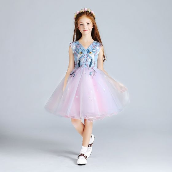 Chic / Beautiful Candy Pink Sky Blue Flower Girl Dresses 2017 Ball Gown V-Neck Sleeveless Appliques Flower Pearl Embroidered Short Ruffle Wedding Party Dresses