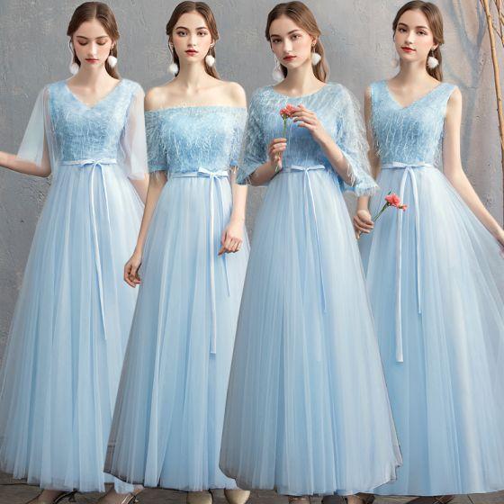 Piękne Niedrogie Niebieskie Sukienki Dla Druhen 2019 Princessa Szarfa Długie Wzburzyć Bez Pleców Sukienki Na Wesele