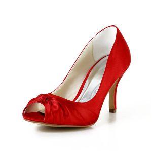 Klassieke Rode Bruidsschoenen Peep Toe Stiletto Satijnen Pumps