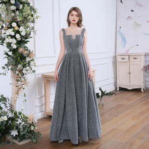 Affordable Grey Evening Dresses  2020 A-Line / Princess See-through Scoop Neck Sleeveless Rhinestone Glitter Polyester Floor-Length / Long Ruffle Backless Formal Dresses