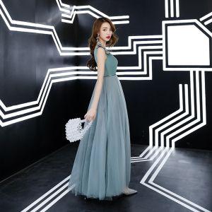 Piękne Jade Zielony Sukienki Wieczorowe 2019 Princessa Zamszowe V-Szyja Z Koronki Kwiat Bez Rękawów Bez Pleców Długie Sukienki Wizytowe