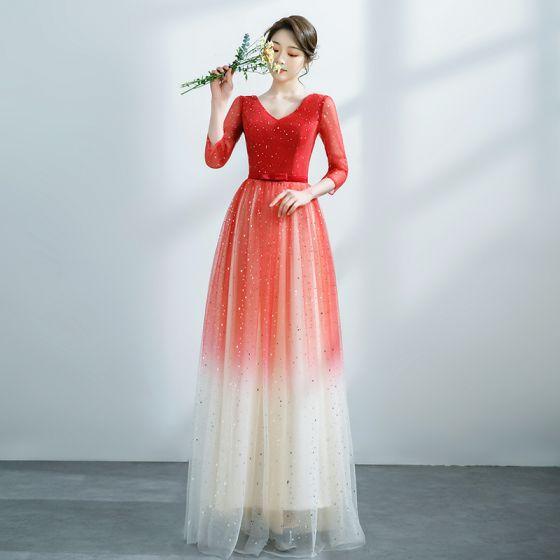 Fashion Red Gradient-Color Prom Dresses 2021 A-Line / Princess V-Neck Star Sequins 3/4 Sleeve Backless Floor-Length / Long Formal Dresses
