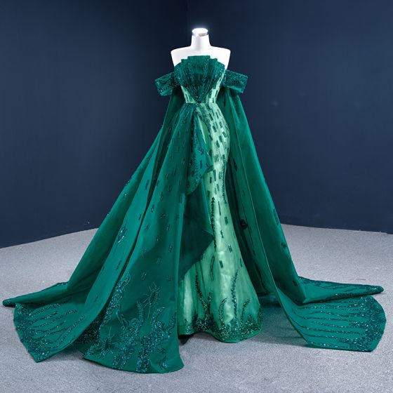 Luxury / Gorgeous Dark Green Red Carpet Evening Dresses  2021 Trumpet / Mermaid Off-The-Shoulder Short Sleeve Appliques Sequins Watteau Train Ruffle Backless Formal Dresses