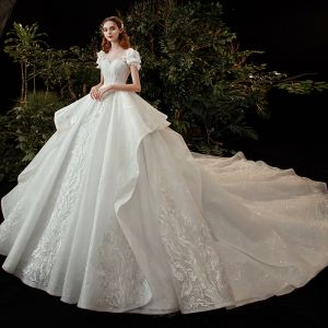 Victorian Style Ivory Bridal Wedding Dresses 2020 Ball Gown See-through Scoop Neck Puffy Short Sleeve Backless Appliques Flower Lace Beading Sequins Cathedral Train Ruffle