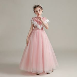 Vintage / Retro Pearl Pink See-through Birthday Flower Girl Dresses 2020 A-Line / Princess High Neck Sleeveless Sash Beading Floor-Length / Long Ruffle