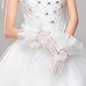2015 Prinzessin Weißer Spitze Brauthandschuhe