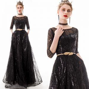 Chic / Beautiful Black Evening Dresses  2020 A-Line / Princess See-through Square Neckline 1/2 Sleeves Sequins Metal Sash Floor-Length / Long Ruffle Formal Dresses