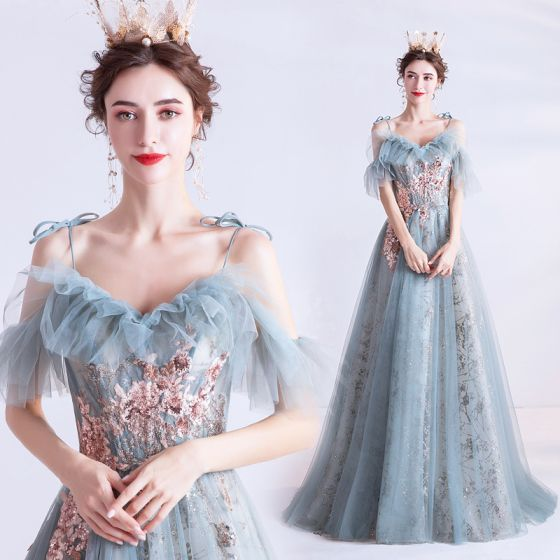 Chic / Belle Bleu Ciel Robe De Soirée 2020 Princesse De l'épaule Bretelles Spaghetti Manches Courtes Appliques Paillettes Glitter Tulle Longue Volants Dos Nu Robe De Ceremonie