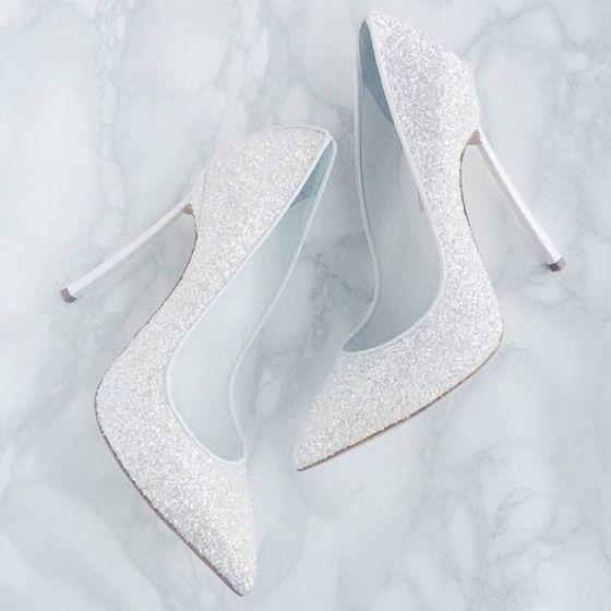 Glitter Witte Pailletten Bruidsschoenen 2019 12 cm Naaldhakken / Stiletto Spitse Neus Huwelijk Pumps