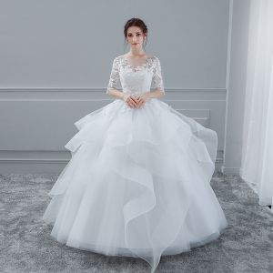 Elegant White Wedding Dresses 2018 Ball Gown Lace Flower Scoop Neck Pierced Cascading Ruffles 1/2 Sleeves Floor-Length / Long Wedding