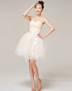 Satin Tulle Bow Sweetheart Mini Ball Gown Bridesmaid Dress