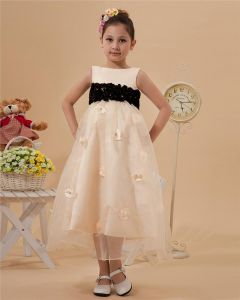 Fashion Jewel Tea-Length Organza Satin Flower Girl's Dress