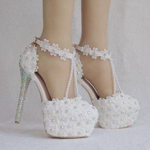 Elegant White Wedding Shoes 2018 Lace Flower Ankle Strap Pearl Rhinestone 14 cm Stiletto Heels Round Toe Wedding High Heels