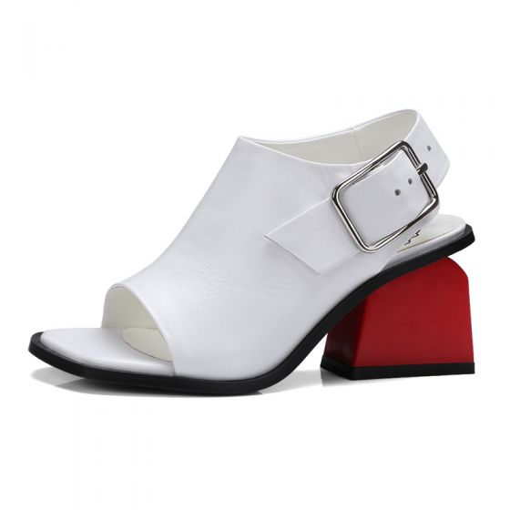 Mooie / Prachtige Witte Sandalen Dames 2017 Handgemaakt Leer Dikke Hak Mid Hak Peep Toe Sandalen