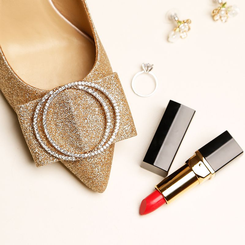 Sparkly Gold Wedding Shoes 2019 Leather Rhinestone Sequins 9 cm Stiletto Heels Pointed Toe Wedding Pumps