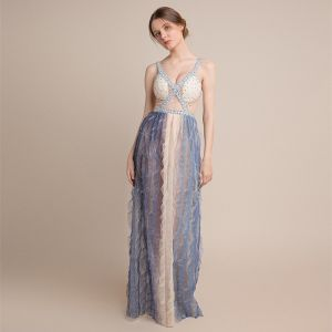 Sexy Champagne Gradient-Color Sky Blue See-through Evening Dresses  2018 Sheath / Fit Shoulders Sleeveless Sequins Beading Floor-Length / Long Ruffle Backless Formal Dresses