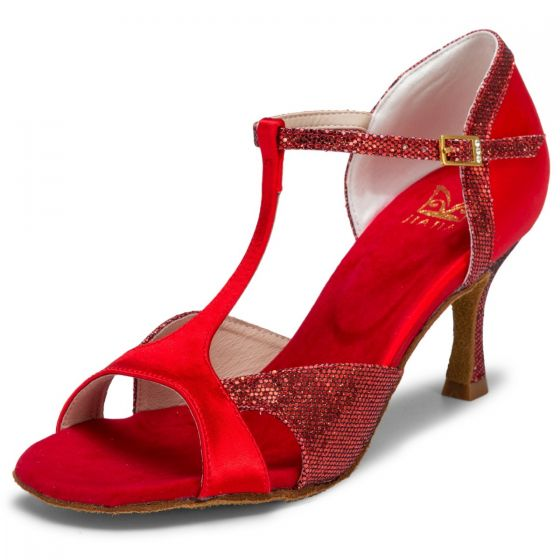 Vintage Röd Bal Latinska Dansskor 2021 7 cm Stilettklackar T-Rem Peep Toe Sandaler Dam Högklackade