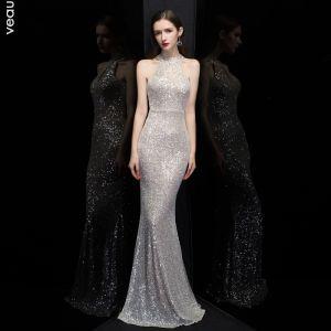 Affordable Silver Sequins Evening Dresses  2020 Trumpet / Mermaid Scoop Neck Sleeveless Floor-Length / Long Formal Dresses