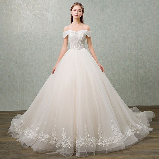Elegant Champagne Wedding Dresses 2018 Ball Gown Lace Flower Bow Sequins Off-The-Shoulder Backless Sleeveless Cathedral Train Wedding